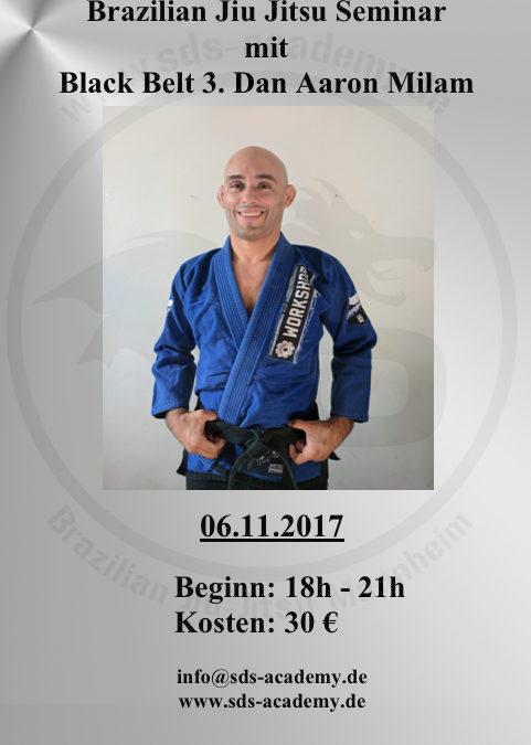 Brazilian Jiu Jitsu Seminar mit Black Belt 3. Dan Aaron Milam in der SDS Academy Mannheim
